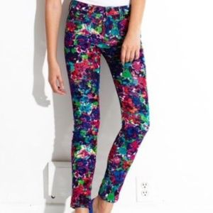 Joe's Psychedelic Floral Cords Skinny Ankle Sz 31